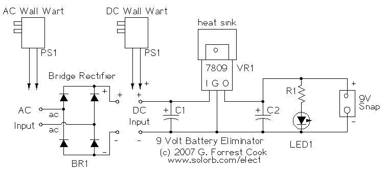 Nine Volt Battery Eliminator Circuit|Electronic Design|Schematic Circuit Power Diagram