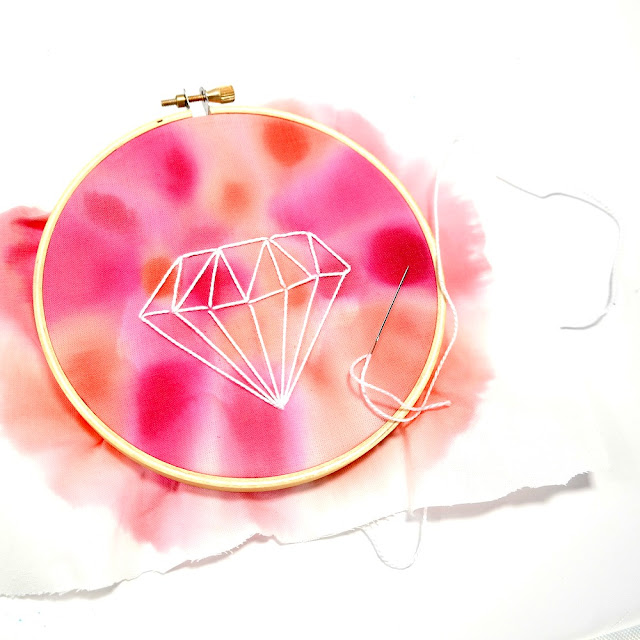 How to Stitch a Diamond onto Hand-Dyed Fabric for Embroidery Hoop Art