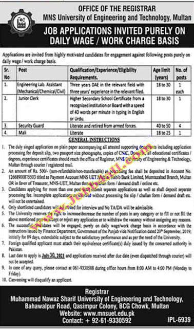 Multan Jobs 2021 in MNS University Muhammad Nawaz Sharif University of Engineering and Technology