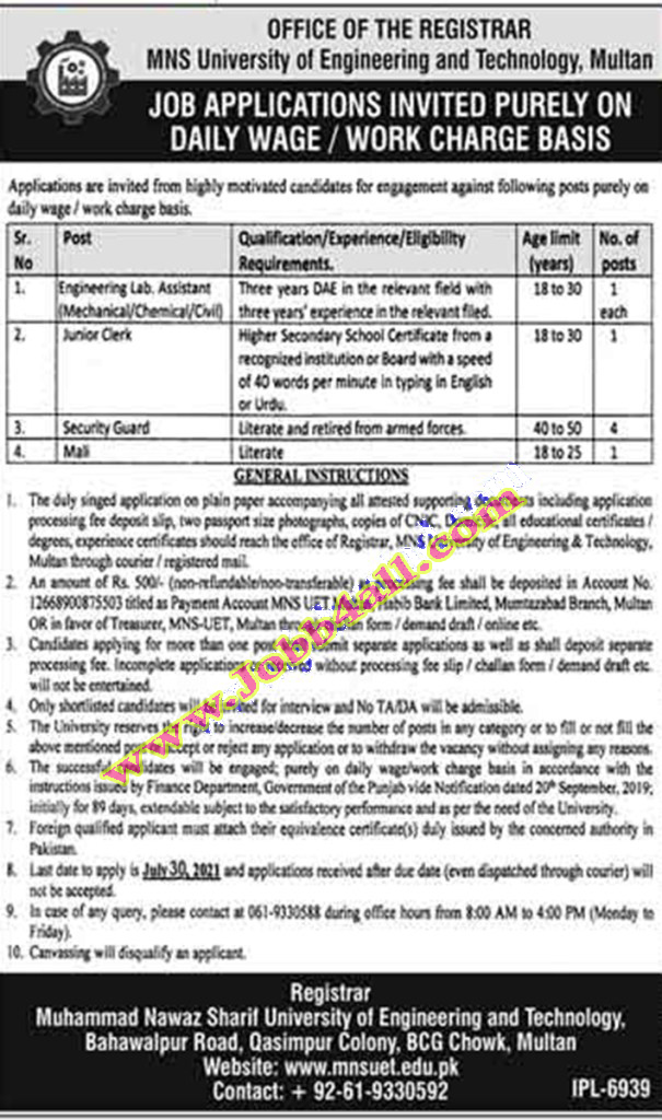Multan Jobs 2021 in MNS Muhammad Nawaz Sharif University of Engineering and Technology Jobs 2021