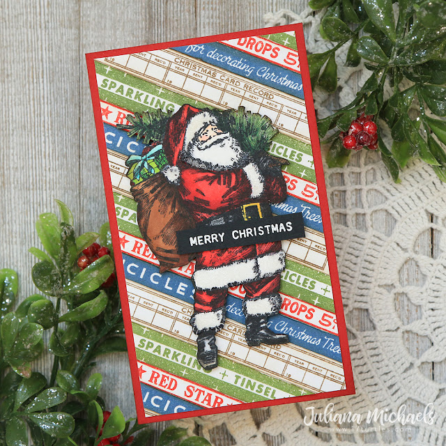 Vintage Santa Christmas Card by Juliana Michaels featuring Tim Holtz Vintage Christmas Stamp Set