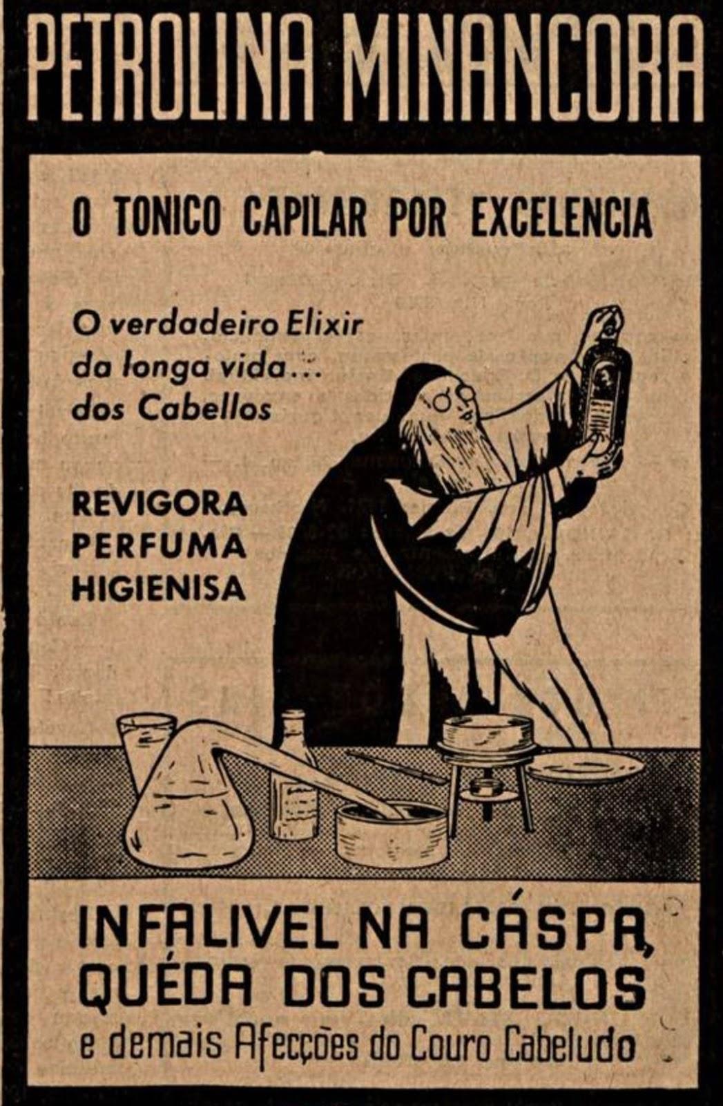 Propaganda antiga da Petrolina Minancora para cuidados dos cabelos em 1940