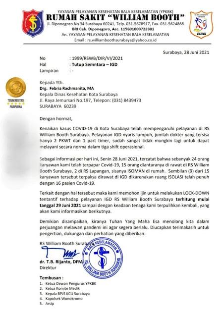 Beredar Surat RS William Booth Surabaya Meminta Izin Lockdown