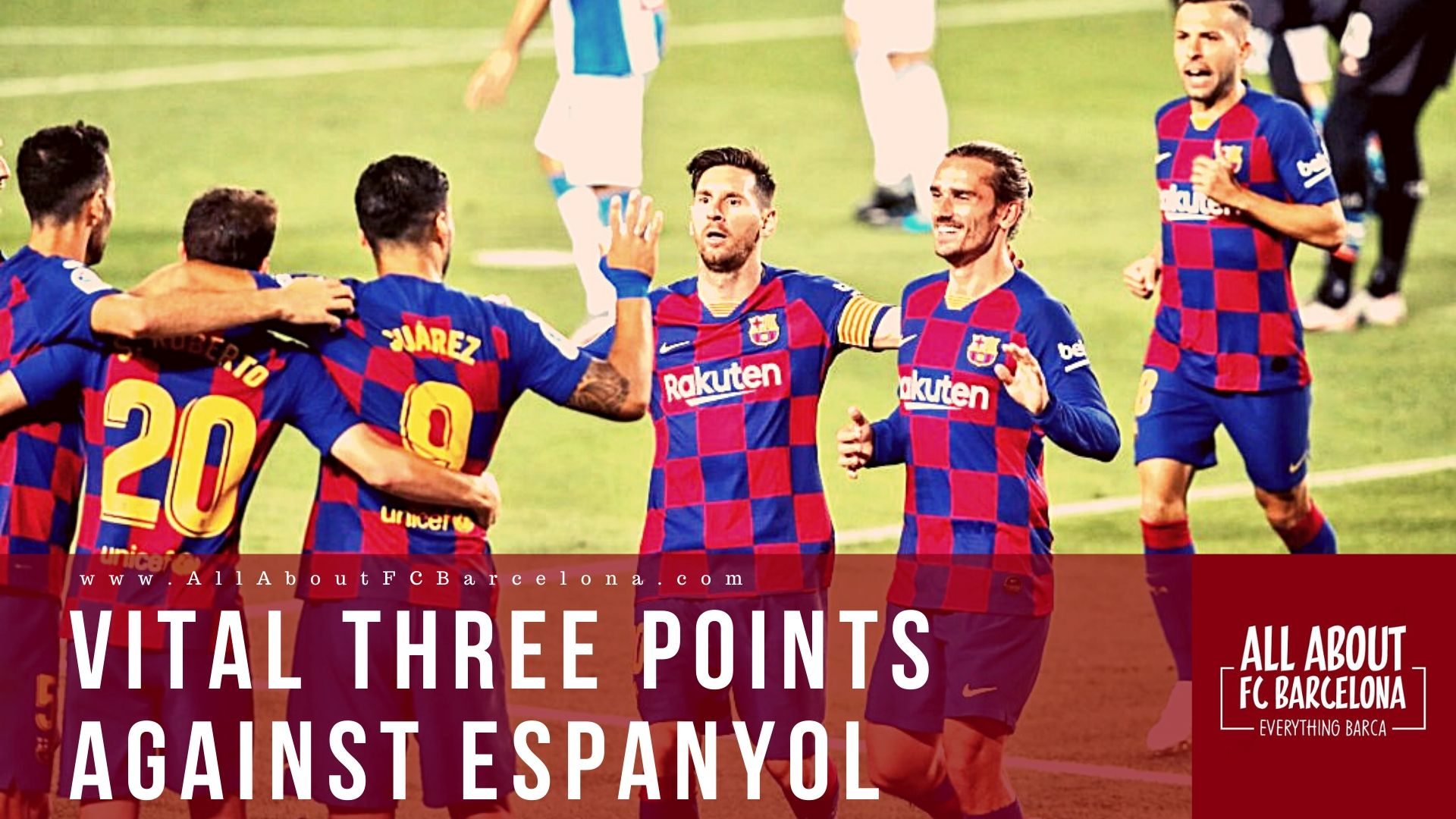 Barcelona Players Celebrating victory over Espanyol