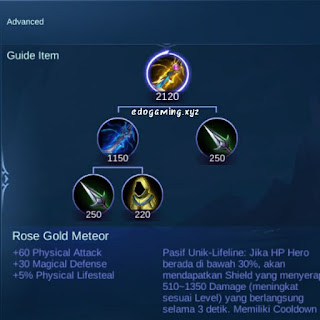 penjelasan lengkap item mobile legends rose gold meteor