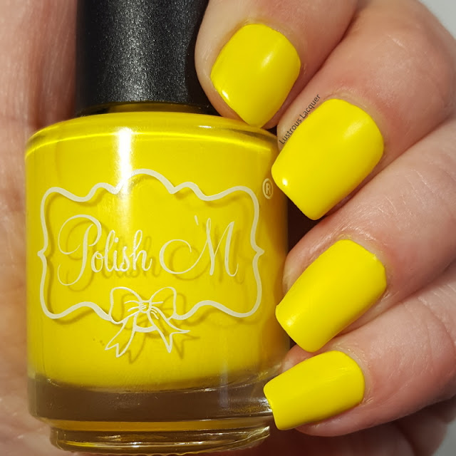 Neon yellow nail polish with a creme finish