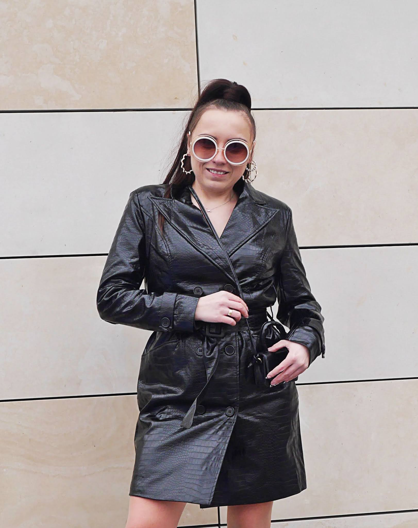fashion blogger black leather snake print coat biker boots worker boots small bag ootd look inspiration sunglasses matrix
