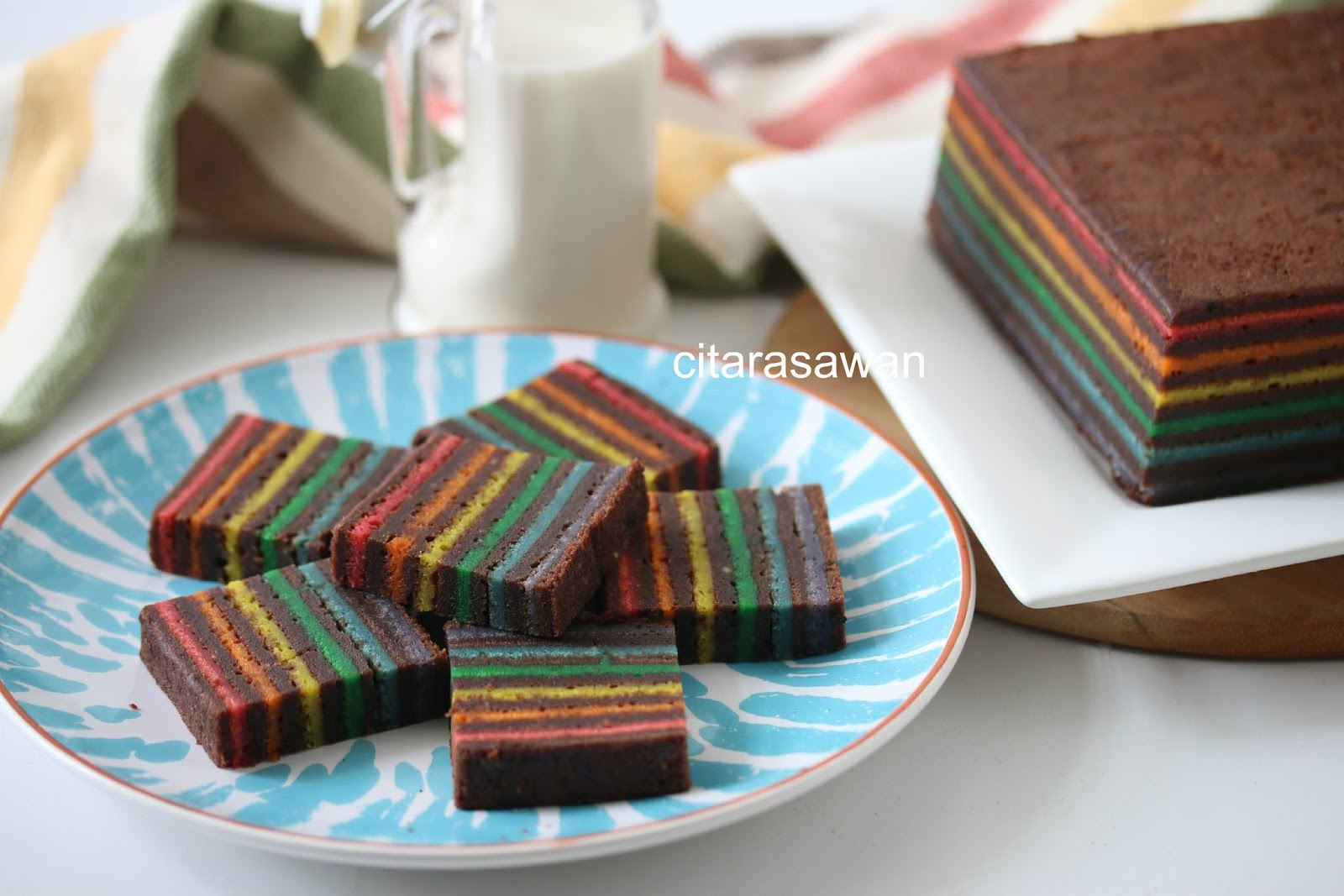 Kek Lapis Coklat Pelangi Rainbow Chocolate Layer Cake
