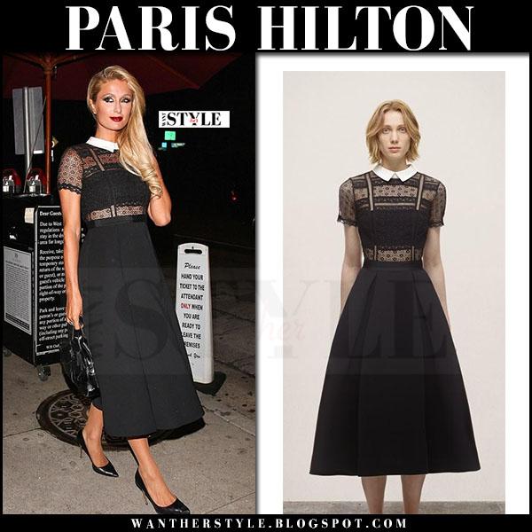 Paris Hilton in black lace midi dress self portrait what she wore
