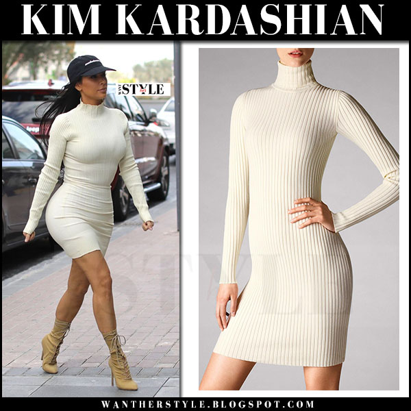 Kim Kardashian in cream turtleneck rib wolford mini dress and suede booties yeezy what she wore