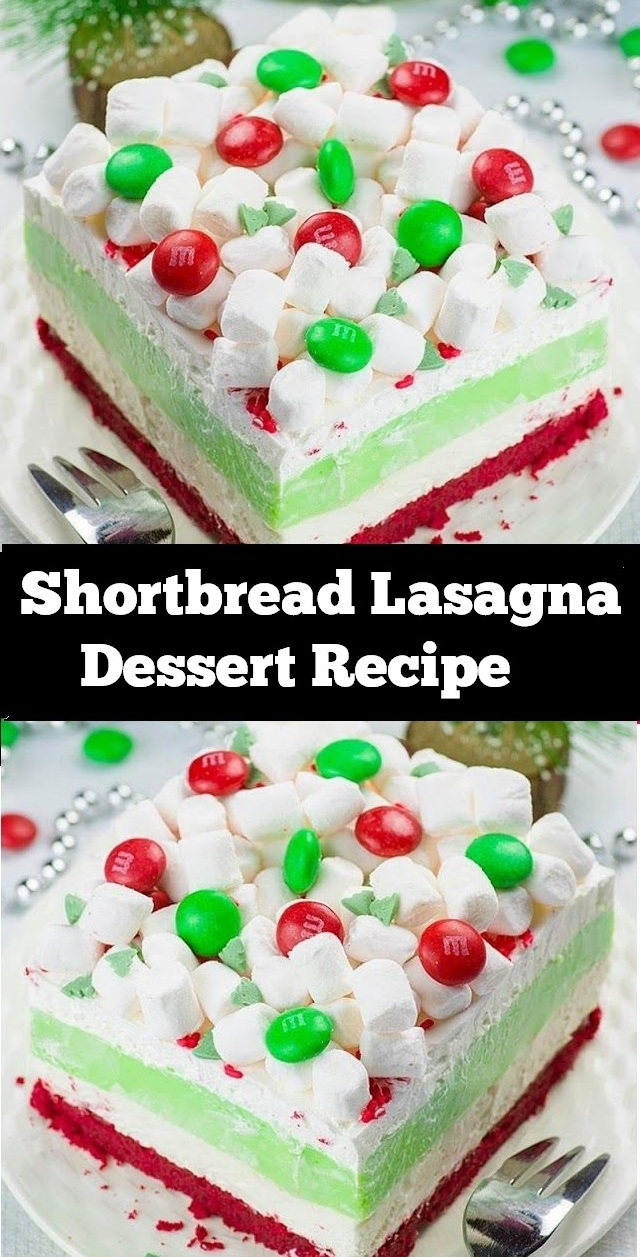 Shortbread Lasagna Dessert is a festively layered dessert with a red velvet shortbread cookie crust, peppermint cheesecake layer, white chocolate pudding, whipped cream and mini marshmallows on top. Always a huge hit with family and friends! #lasagna #dessert #chocolate #redvelvet #shortbread #cookie #cheesecake