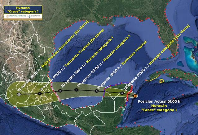 Grace está aproximándose rápidamente al este de la Península de Yucatán y se espera traiga vientos fuertes y una marejada ciclónica peligrosa.