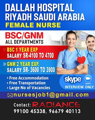 Urgently Required Staff Nurses to Dallah Hospital Riyadh, Saudi Arabia