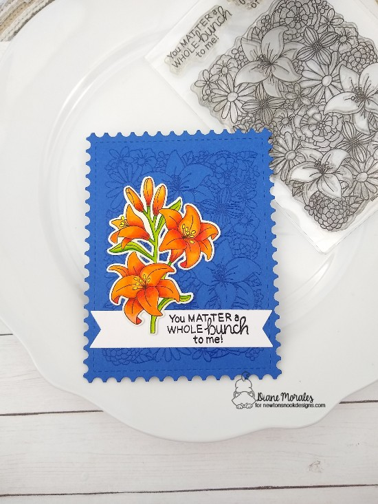 You matter a whole bunch to me by Diane features Blooming Botanicals, Easter Lily, Frames & Flags, Framwork by Newton's Nook Designs; #newtonsnook