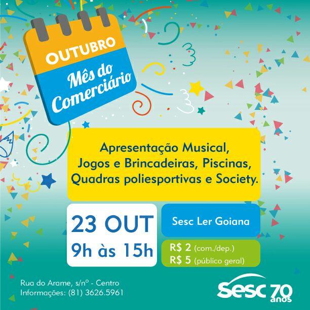 SESC LAZER comemora o mês do comerciário neste domingo 23/10