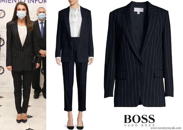 Queen Letizia wore Hugo Boss Kocani Striped Suit