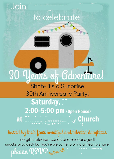 Retro RV camper anniversary invitations