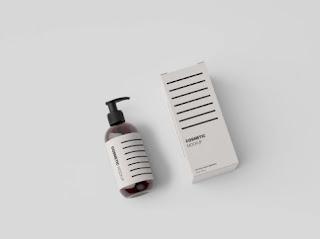 Mockup botol dan kotak parfum