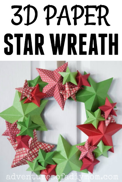 a wreath made of 3d paper stars