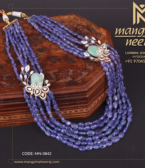 Eight Layers Sapphire Beads Long Chain