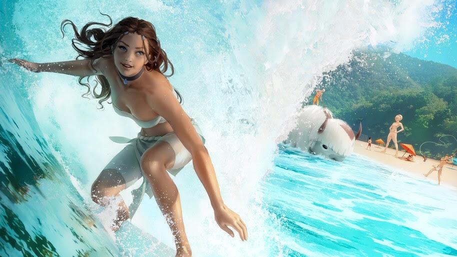 Girl, Wave, Surfing, Katara, Avatar The Last Airbender, 4K, #6.2519
