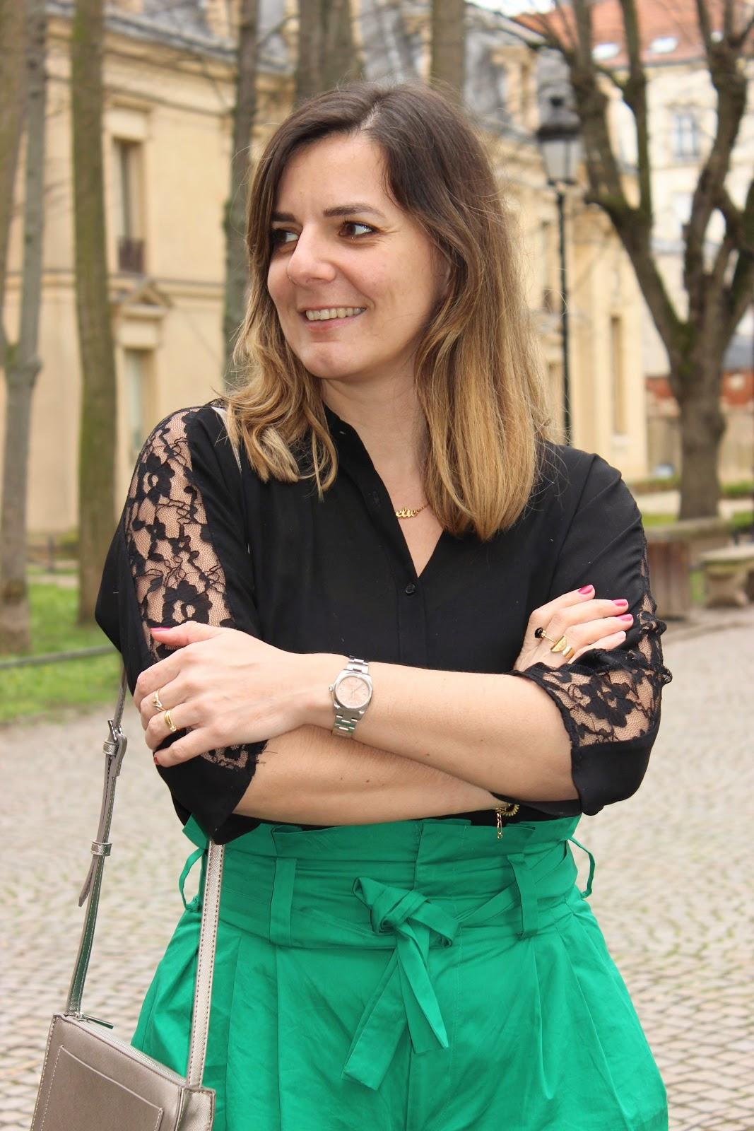 look du jour, jupe culotte Zara, escarpins léopard Cosmoparis, les petites bulles de ma vie
