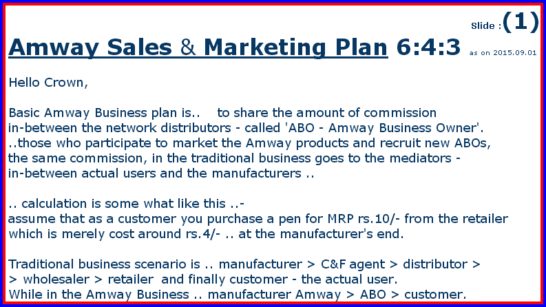 Amway business plan success