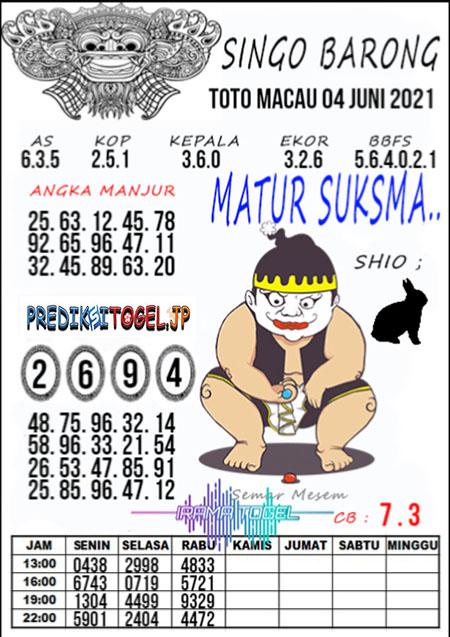 Syair Top Singo Barong Toto Macau Jumat 04 Juni 2021