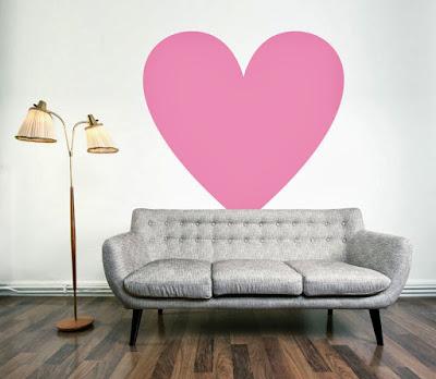heart decals in living room