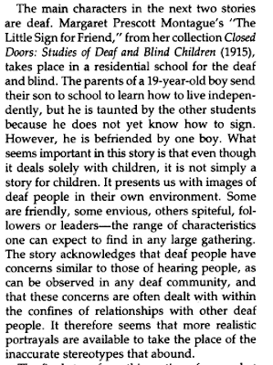 """Screenshot of text from Bernard Guella, """"Short Stories with Deaf Fictional Characters,"""" American Annals of the Deaf, February 1983, Vol. 128, 1, p.28."""