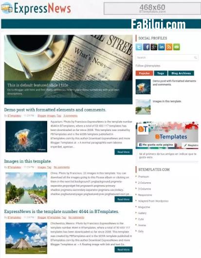 Blogger Reklam Alanlı Ücretsiz Kişisel Site Teması İndir 2020 ExpressNews