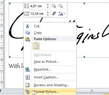 klik kanan gambar pilih format picture