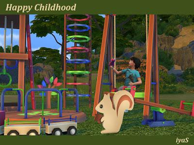 Happy Childhood Счастливое детство для The Sims 4 11 декоративных предметов для ваших детей. Набор имеет 3 цветовых вариации. Включает: - качели - два детских домика - карусель - качели - поезд с вагонами - детская игровая площадка - 4 декоративные игрушки на заднем дворе Автор: soloriya