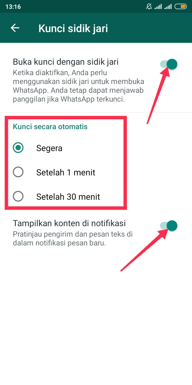 tombol kunci sidik jari whatsapp