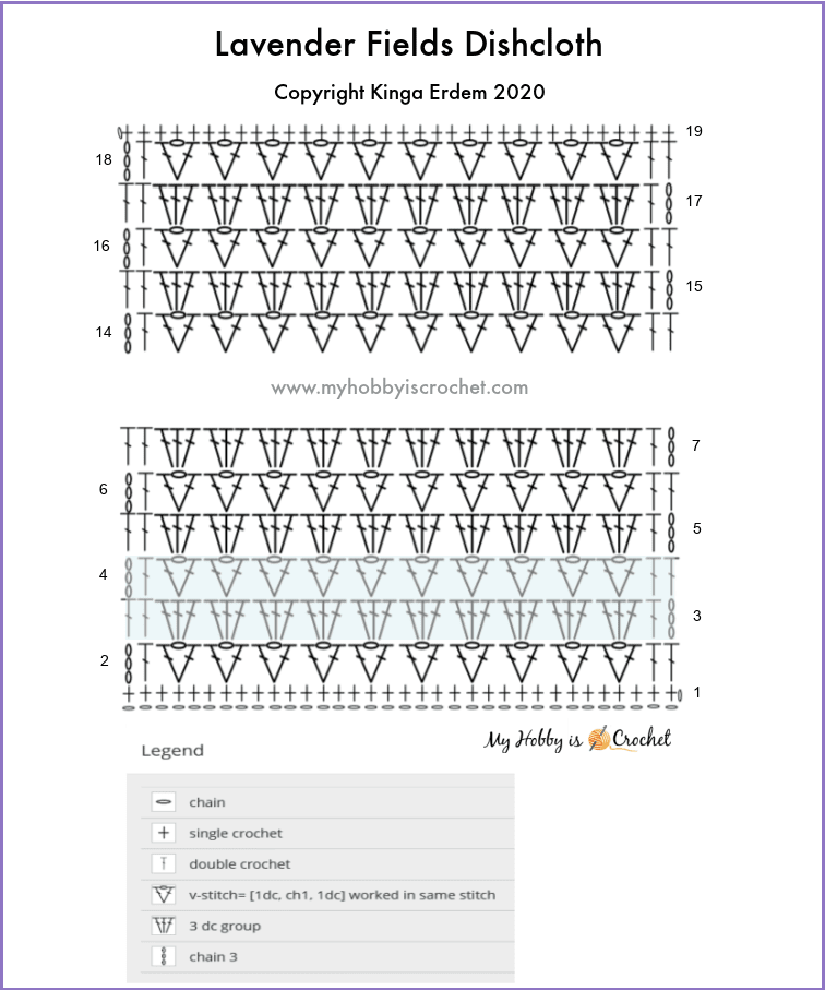 Crochet Chart Lavender Fields Dishcloth