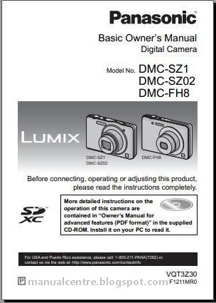 Panasonic Lumix DMC-SZ1 Manual Cover