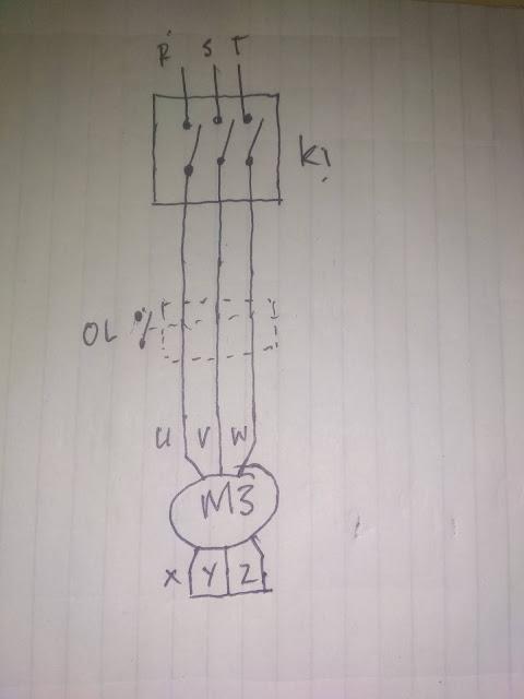 Diagram Pengawatan Rangkaian 1 arah putaran
