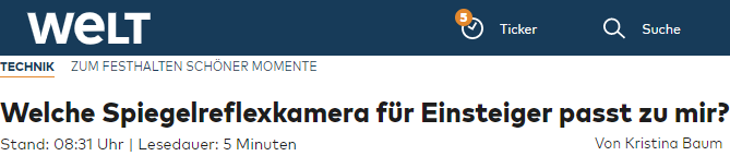 Welche Spiegelreflexkamera für Einsteiger passt zu mir?