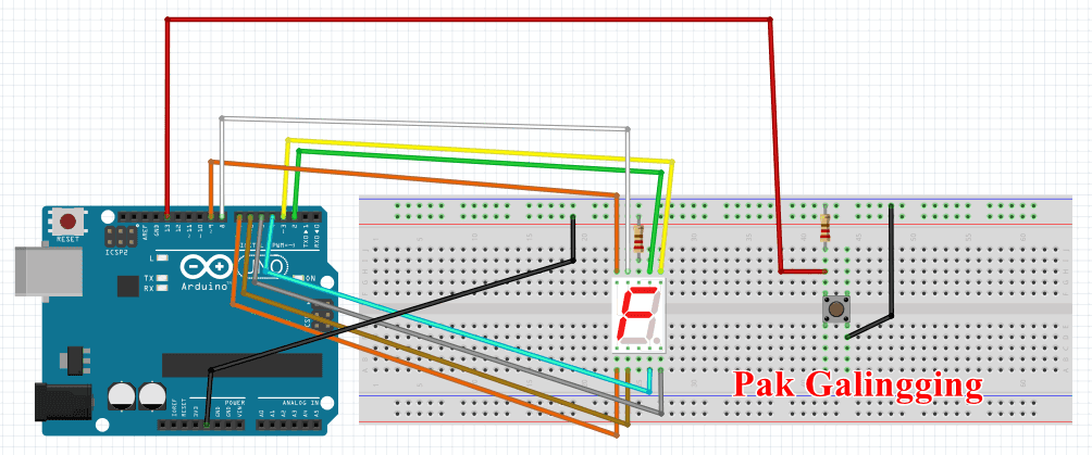 Counter UP - Seven Segment Menggunakan Push Button dengan Arduino UNO