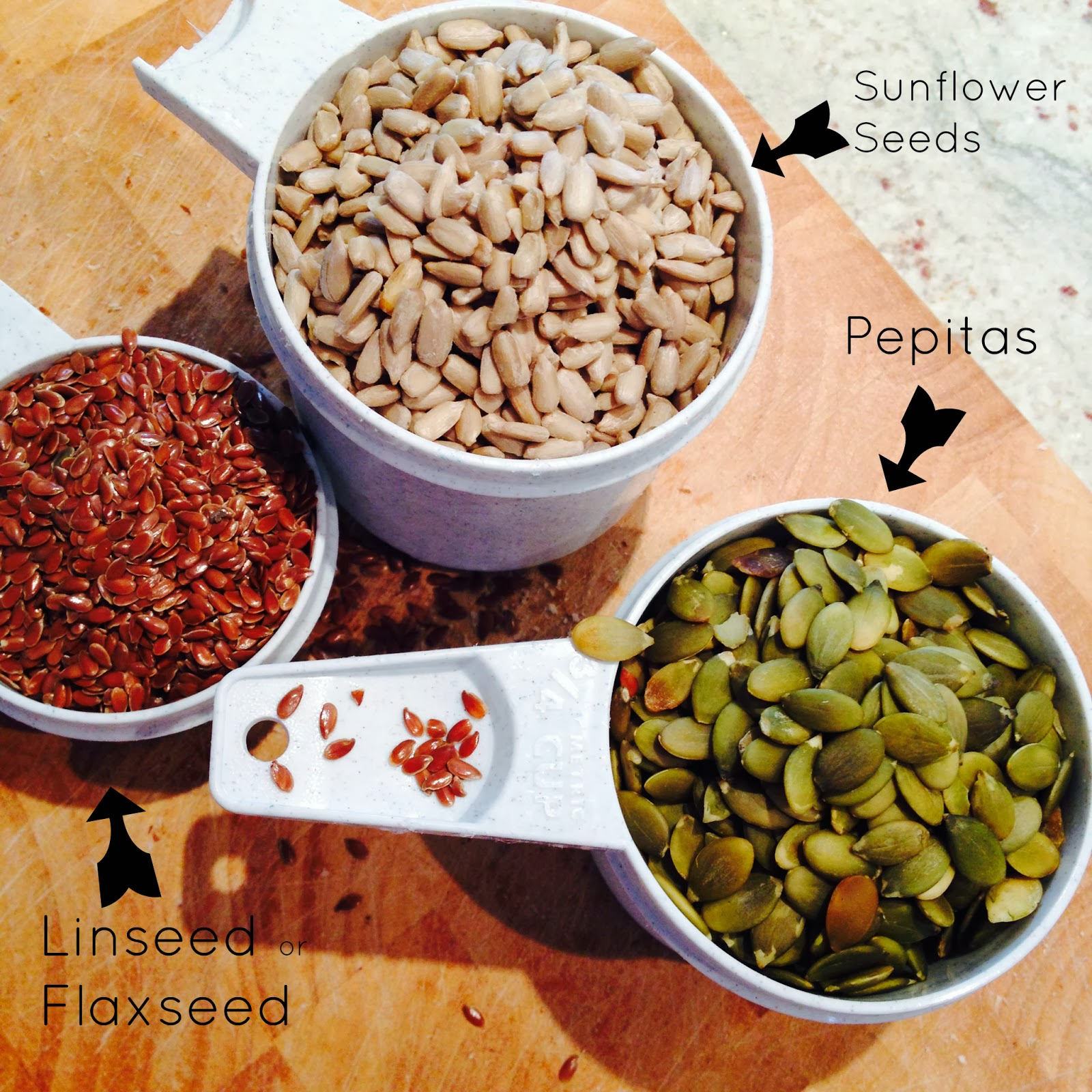 LCHF Nutty Granola Recipe, linseed, flaxseed, sunflower seed, pepita