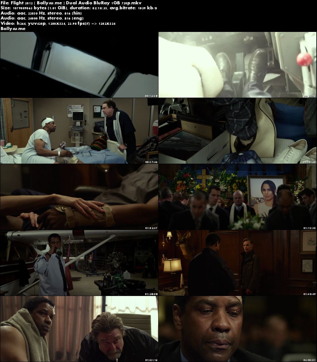 Flight 2012 BluRay 1GB Hindi Dubbed Dual Audio 720p Download