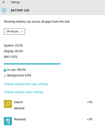 windows 10 battery use