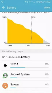 comprobar el menú de uso de la batería de la aplicación Android