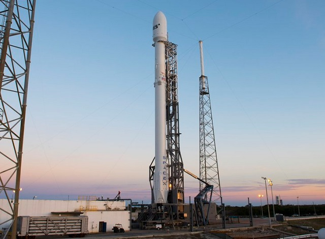 Falcon 9 rocket carrying a SES-9 communications satellite