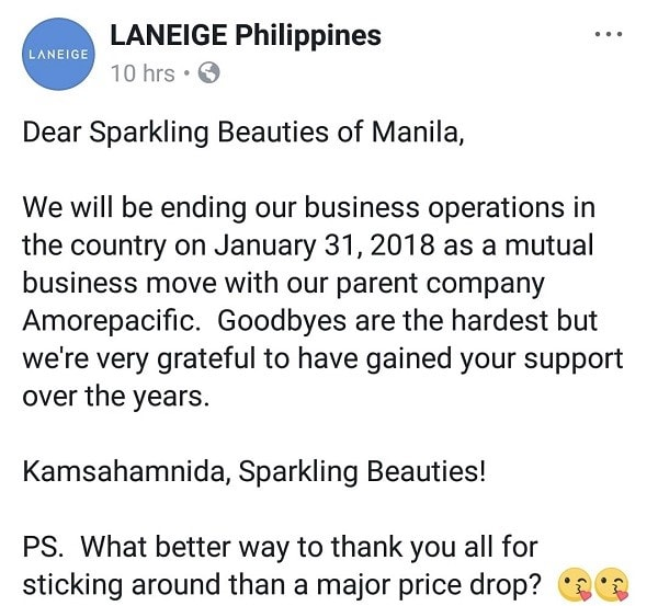 Laneige Philippines shutdown