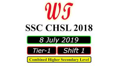 SSC CHSL 8 July 2019, Shift 1 Paper Download Free