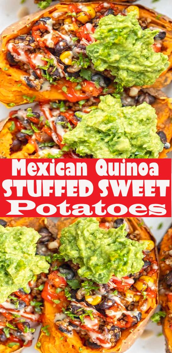 Mexican Quinoa Stuffed Sweet Potatoes #stuffedsweetpotatoes #mexicanquinoa #quinoa #quinoarecipe #vegandinner #simplyquinoa