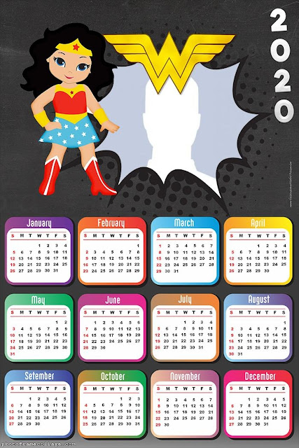 Wonder Woman: Free Printable 2020 Calendar.