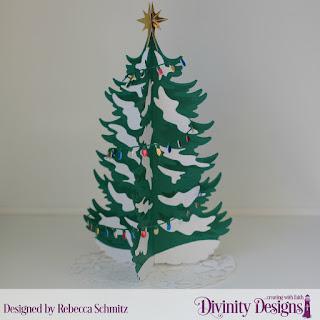 Custom Dies:  Curvy Slopes, Christmas Tree Table Top Home Décor, Christmas Tree Skirt