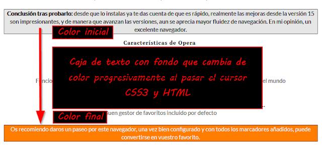 Caja de texto con cambio de color de fondo progresivo - CSS3 - Blogger